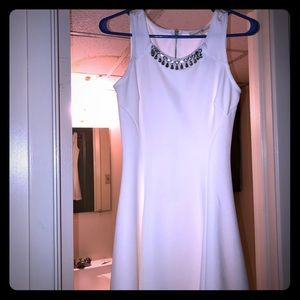 Altar'd State white fit and flare sparkle dress
